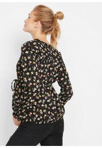 Czarna bluzka bonprix moda ciążowa, w kwiaty