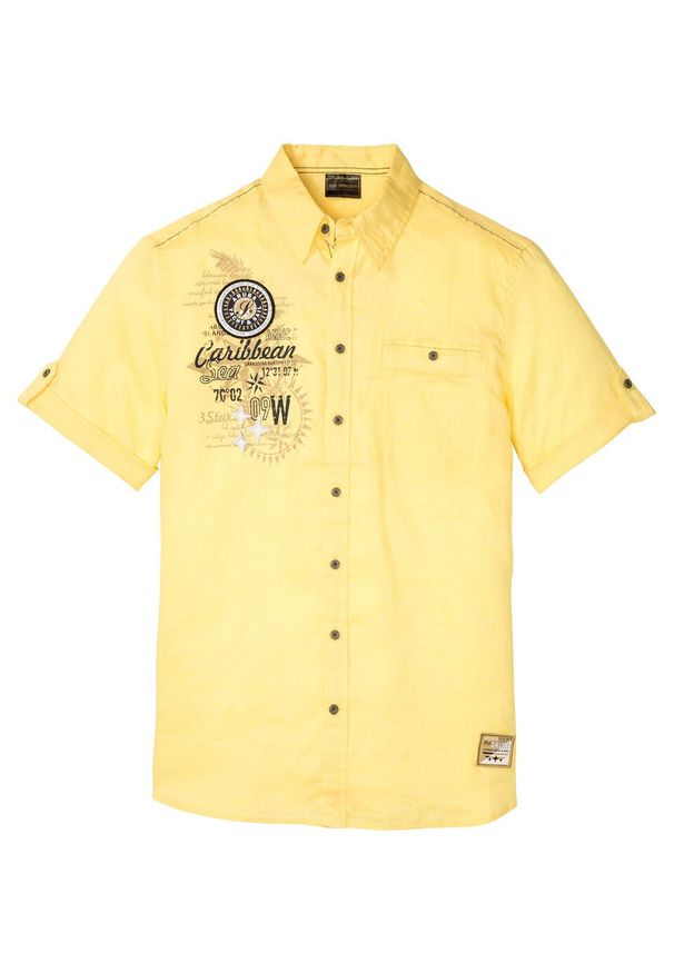 Koszula z lnem, krótki rękaw bonprix jasnożółty z nadrukiem. Kolor: żółty. Materiał: len. Długość rękawa: krótki rękaw. Długość: krótkie. Wzór: nadruk. Styl: wakacyjny