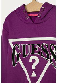 Fioletowa bluza Guess Jeans casualowa, z nadrukiem, na co dzień