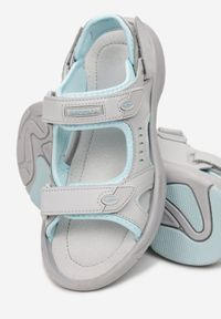 Born2be - Szaro-Niebieskie Sandały Temine. Zapięcie: rzepy. Kolor: szary. Materiał: skóra, materiał. Styl: sportowy