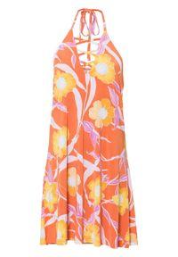 Sukienka z nadrukiem bonprix pomarańczowo-jasnoróżowo-żółty z nadrukiem. Kolor: pomarańczowy. Wzór: nadruk
