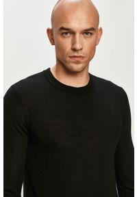 Czarny sweter Armani Exchange długi, casualowy, z długim rękawem, na co dzień