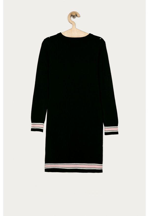 Czarna sukienka Guess Jeans z okrągłym kołnierzem, mini