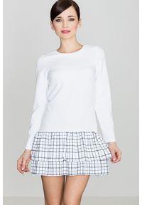 e-margeritka - Sukienka mini z falbaną w kratę biała - l. Okazja: na co dzień. Kolor: biały. Materiał: poliester. Długość rękawa: długi rękaw. Typ sukienki: proste. Styl: casual. Długość: mini