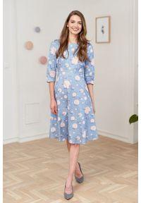 Marie Zélie - Sukienka Aerin Anates błękitna. Kolor: niebieski. Materiał: bawełna, satyna, skóra, materiał. Typ sukienki: trapezowe
