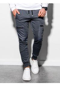 Ombre Clothing - Spodnie męskie dresowe joggery P917 - grafitowe - XXL. Kolor: szary. Materiał: dresówka #3
