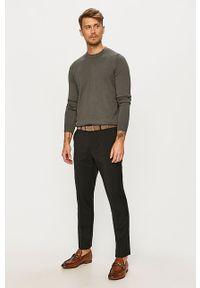 Szary sweter Hugo z okrągłym kołnierzem, długi