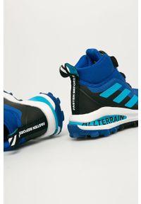 Niebieskie buty zimowe adidas Performance na sznurówki, z cholewką, na zimę