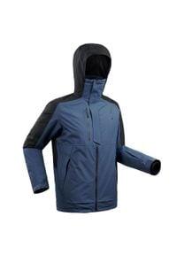 WEDZE - Kurtka narciarska freeride JKT SKI FR100 męska. Kolor: niebieski. Materiał: skóra, materiał. Sport: narciarstwo