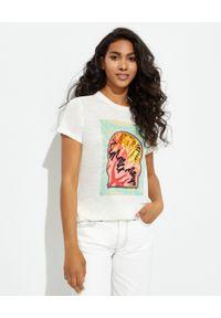 ZIMMERMANN - Biała koszulka Lulu. Okazja: do pracy, na randkę, na co dzień. Kolor: biały. Materiał: len, jeans. Wzór: nadruk, kolorowy. Styl: klasyczny, casual