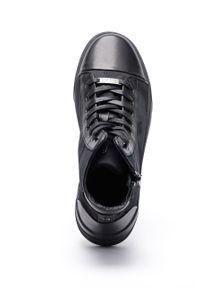 Czarne sneakersy GOE na sznurówki, z okrągłym noskiem, z cholewką #7