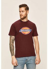 Brązowy t-shirt Dickies na co dzień, z okrągłym kołnierzem, casualowy
