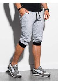 Ombre Clothing - Krótkie spodenki męskie dresowe P29 - szaro-czarne - XL. Kolor: szary. Materiał: dresówka. Długość: krótkie. Styl: klasyczny