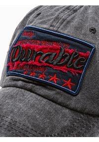 Ombre Clothing - Czapka męska z daszkiem H075 - czarna - uniwersalny. Kolor: czarny. Materiał: bawełna