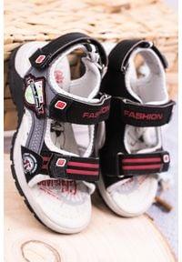 Casu - czarne sandały na rzepy casu jf01. Zapięcie: rzepy. Kolor: czarny