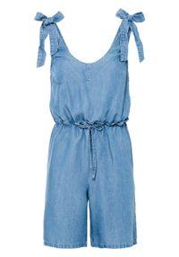 """Kombinezon dżinsowy TENCEL™ Lyocell z wiązanymi ramiączkami bonprix niebieski """"stone"""". Kolor: niebieski. Materiał: lyocell. Długość rękawa: na ramiączkach. Styl: elegancki"""