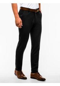 Ombre Clothing - Spodnie męskie chino P832 - czarne - XL. Kolor: czarny. Materiał: elastan, wiskoza, tkanina, poliester. Styl: elegancki, klasyczny