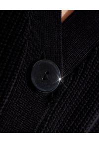 SER.O.YA - Długi kardigan Amanda. Kolor: czarny. Materiał: prążkowany, bawełna. Długość rękawa: długi rękaw. Długość: długie