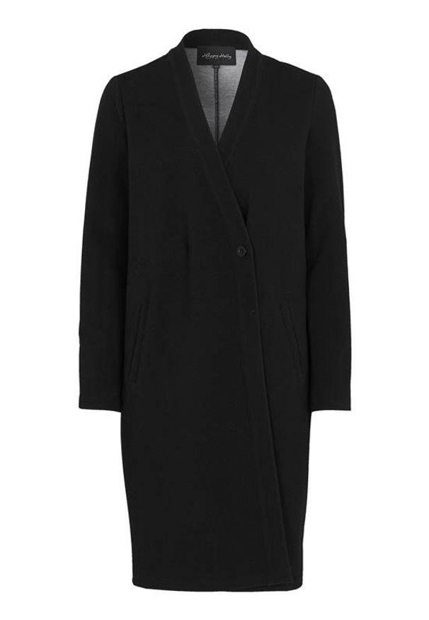 Czarna kurtka Happy Holly elegancka, na zimę, z kopertowym dekoltem