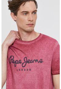 Pepe Jeans - T-shirt West. Okazja: na co dzień. Kolor: czerwony. Wzór: nadruk. Styl: casual