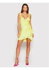 Guess Sukienka koktajlowa Larissa W1GK0W WCUN0 Żółty Slim Fit. Kolor: żółty. Styl: wizytowy