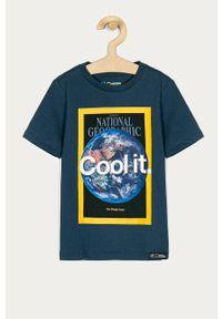 Niebieski t-shirt GAP casualowy, z nadrukiem