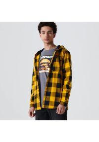 Cropp - Koszula w kratę z kapturem - Żółty. Typ kołnierza: kaptur. Kolor: żółty
