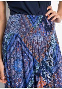 Spódnica kopertowa bonprix niebiesko-brązowy wzorzysty. Kolor: niebieski. Długość: długie #4