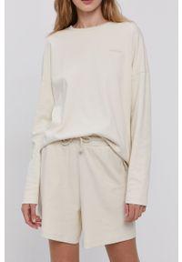 Vero Moda - Szorty. Kolor: beżowy. Materiał: dzianina, bawełna, materiał. Wzór: gładki