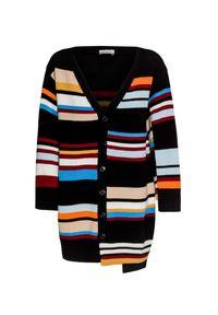 Czarny sweter MRZ w kolorowe wzory, z asymetrycznym kołnierzem