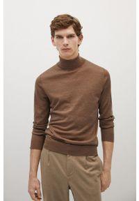 Brązowy sweter Mango Man długi, z golfem, na co dzień, z długim rękawem