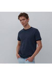 Reserved - Koszulka z bawełny organicznej - Granatowy. Kolor: niebieski. Materiał: bawełna