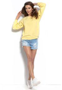 Fobya - Cytrynowa Wygodna Bluza z Metalowymi Kółkami. Kolor: żółty. Materiał: elastan, bawełna