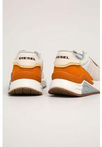 Beżowe sneakersy Diesel na sznurówki, z cholewką
