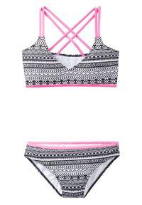 Bikini dziewczęce (2 części) bonprix czarno-biało-różowy. Kolor: czarny