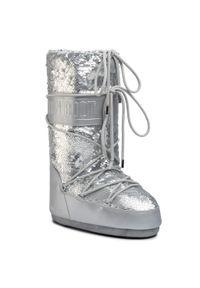 Srebrne śniegowce Moon Boot z aplikacjami