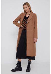 Y.A.S - Płaszcz wełniany. Kolor: brązowy. Materiał: wełna