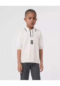 BURBERRY CHILDREN - Biała koszulka polo z monogramem 4-14 lat. Typ kołnierza: polo. Kolor: biały. Materiał: dzianina. Sezon: lato. Styl: klasyczny