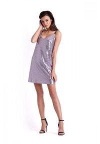 Liliowa sukienka wizytowa IVON trapezowa, na ramiączkach