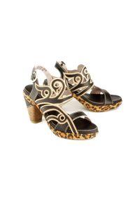 Laura Vita - LAURA VITA FICNALO 211 SL2019-1B noir, sandały damskie. Kolor: czarny. Materiał: skóra, guma. Obcas: na obcasie. Wysokość obcasa: średni