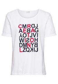 T-shirt z nadrukiem bonprix biały z nadrukiem. Kolor: biały. Długość rękawa: krótki rękaw. Długość: krótkie. Wzór: nadruk