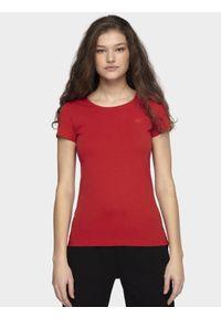 4f - T-shirt damski. Kolor: czerwony. Materiał: bawełna