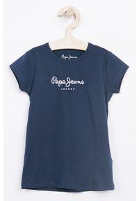 Niebieska bluzka z krótkim rękawem Pepe Jeans z nadrukiem, casualowa