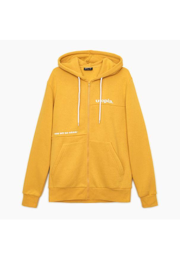 Cropp - Rozpinana bluza z kapturem - Żółty. Typ kołnierza: kaptur. Kolor: żółty