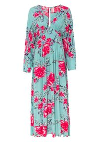 Długa sukienka bonprix zieleń morska w kwiaty. Kolor: zielony. Wzór: kwiaty. Styl: elegancki. Długość: maxi