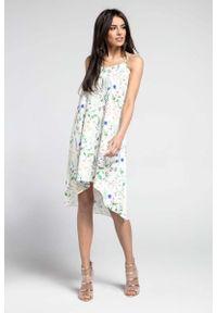 Nommo - Kwiatowa Swobodna Asymetryczna Sukienka na Wąskich Ramiączkach. Materiał: wiskoza, poliester. Długość rękawa: na ramiączkach. Wzór: kwiaty. Typ sukienki: asymetryczne