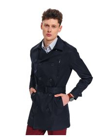 TOP SECRET - Płaszcz męski typu trencz. Kolor: niebieski. Długość rękawa: długi rękaw. Długość: długie. Sezon: wiosna. Styl: elegancki
