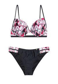 Wielokolorowy strój kąpielowy MOODO w geometryczne wzory, push-up