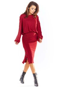 Czerwony sweter oversize Awama
