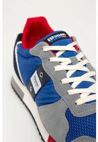 Niebieskie sneakersy Blauer z cholewką, z okrągłym noskiem, na sznurówki